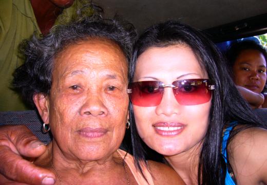 Rena and her mom, Tarcila Llevado, in Samar, Philippines