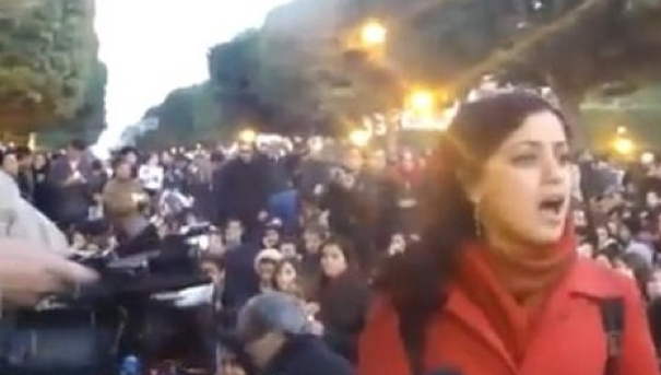 "Amel Mathluthi Sings ""My Word is Free"" at the Barricades for the Tunisian Revolution that launched the Arab Spring in 2011"